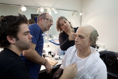 Daniel Boissevain in SFX make up with Erik and Rob Hillenbrink and Mariel Hoevenaars photo by Elmer van der Marel