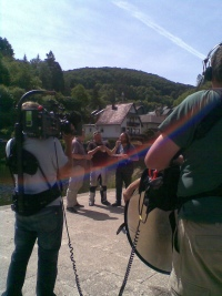 The Hairy Bikers & Eric Wobma in Vianden, Luxembourg. Photo by Zyuli Heideman