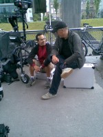 Mark de Blok en Michael Monteiro on the set of DUEL TO THE D...ANCE