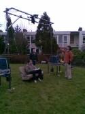 op de set van FLEX, Frank Lammers, Onno Perdijk met de Pendule